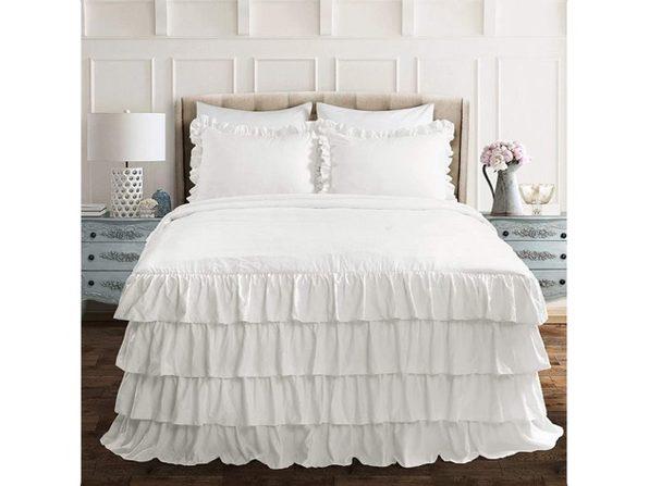 Lush Decor White Allison Ruffle Skirt Bedspread Shabby Chic Farmhouse Style Ligh (No Box)