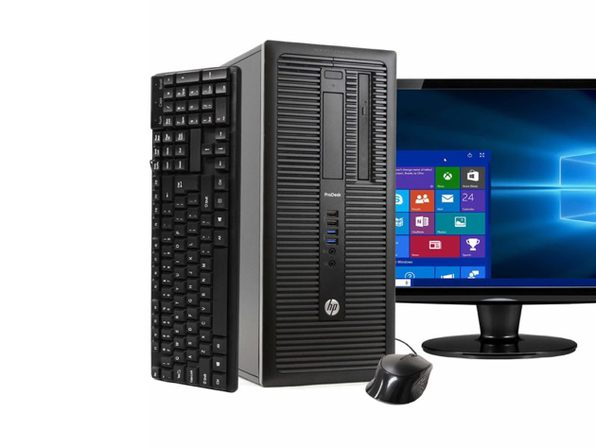 "HP ProDesk 600G1 Tower PC, 3.2GHz Intel i5 Quad Core Gen 4, 4GB RAM, 500GB SATA HD, Windows 10 Home 64 bit, 22"" Screen (Renewed)"
