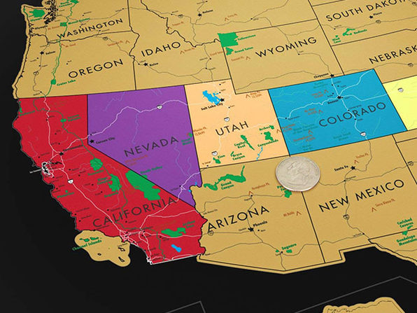 World Travel Tracker Scratch Off Map® (US National Parks/Black) | Joyus