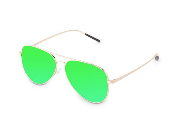 Force Polarized Aviator Sunglasses (Gold/Green)