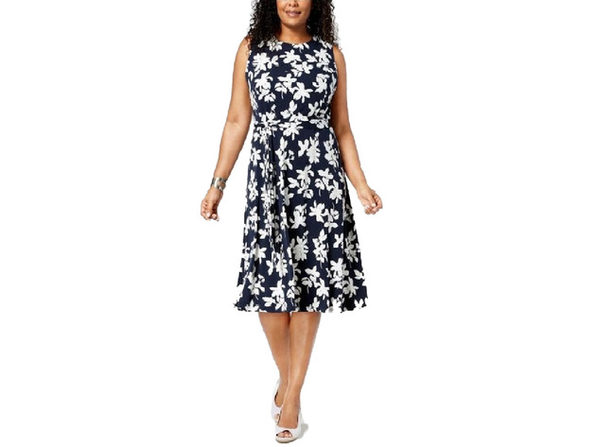 Charter Club Women's Sleeveless Midi Dress Blue White Floral Combo Size Extra Small