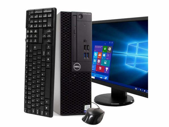 """Dell Optiplex 3050 Desktop PC, 3.2GHz Intel i5 Quad Core Gen 7, 16GB RAM, 240GB SSD, Windows 10 Professional 64 bit, BRAND NEW 24"""" Screen (Renewed)"""