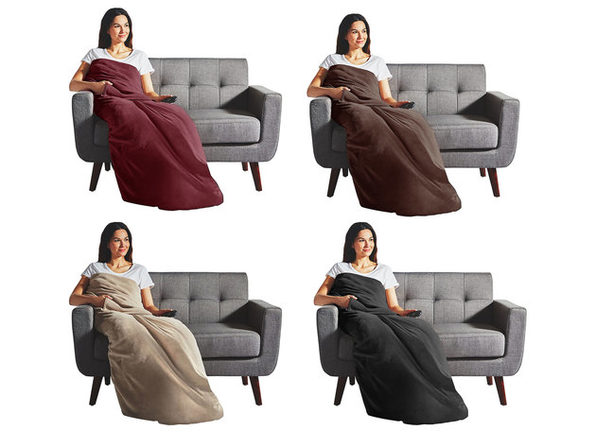 Sunbeam Electric Heated Velvet Plush Deluxe Throw XL Dual Pocket Blanket TB16 - Assorted Colors - Garnet