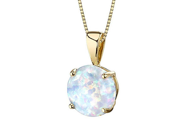 Opal-like Pendant Drop Necklace Gold - Product Image