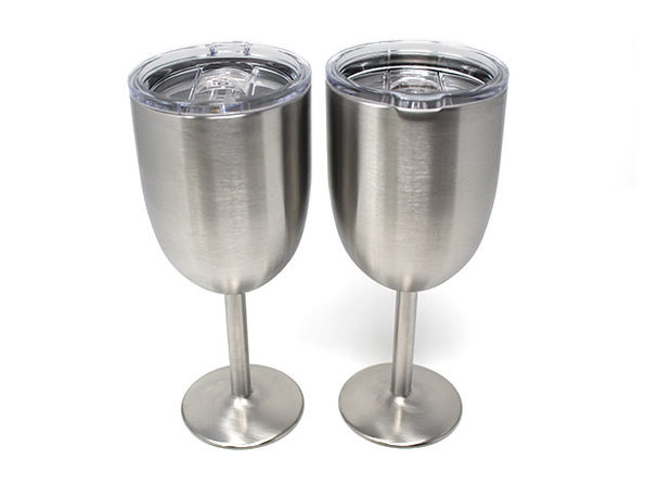 Stainless Steel Double Walled Wine Glass With Lid: Set of 2