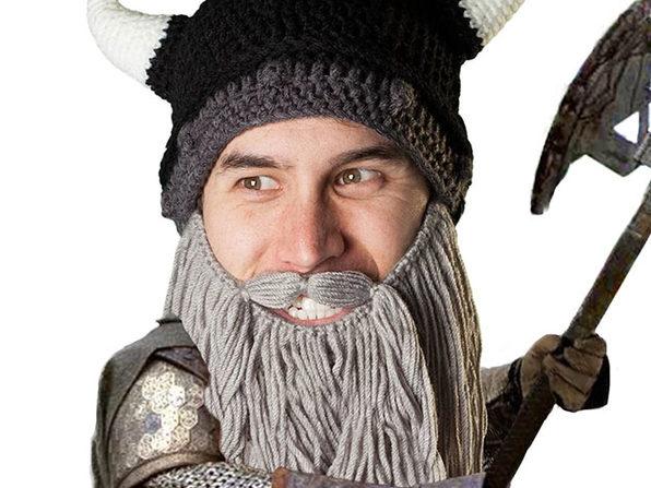 Beard Head® The First Ever Bearded Headwear: Barbarian Pillager (Grey)