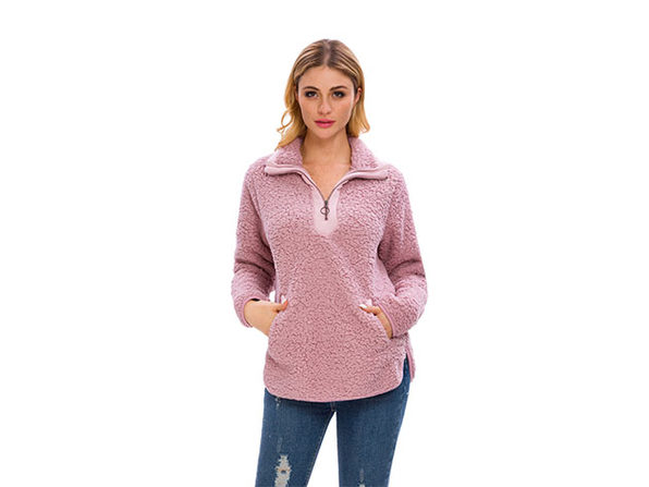 Pink Loose Sherpa Pullover Stand Collar with Pockets