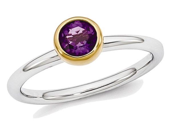 2/5 Carat Amethyst Solitaire Ring (ctw) in Sterling Silver with Gold Plating - 6