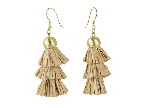 Layered Raffia Earrings - Product Image