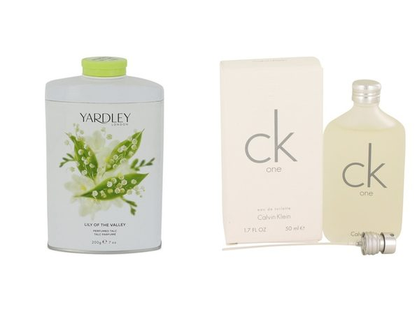 Gift set  Lily of The Valley Yardley by Yardley London Pefumed Talc 7 oz And  CK ONE EDT Pour/Spray (Unisex) 1.7 oz - Product Image