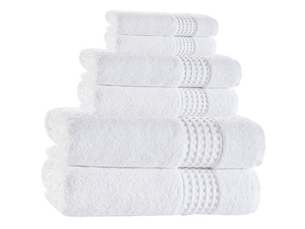 Ela Turkish Towels: 6-piece Sets - White - Product Image
