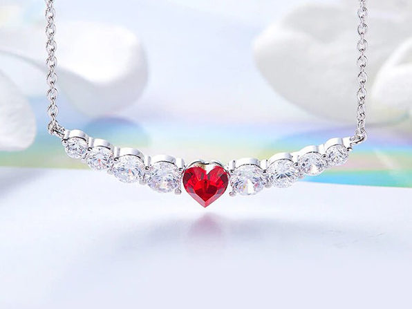 8.00CT Ruby Heart Necklace Featuring Swarovski Crystals