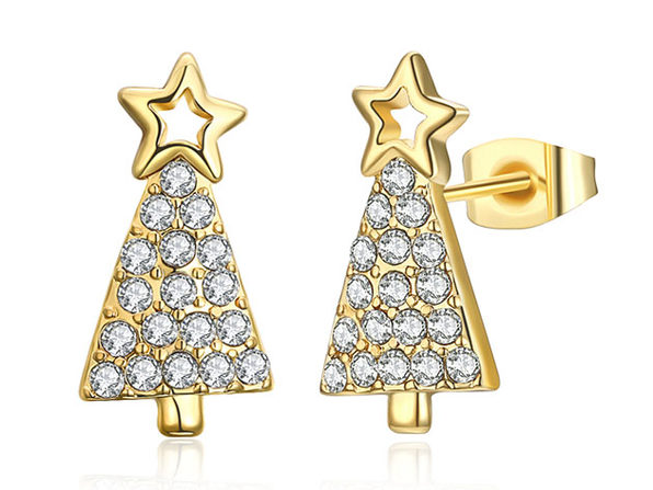 Christmas Tree Stud Earrings Paved with Swarovski Elements