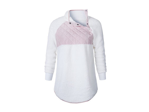 Asymmetrical Neck Mixed Media Fleece (Cream/Large)