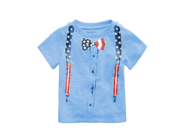 First Impressions Baby Boys Bow Tie-Print T-Shirt Blue Size 12 Months