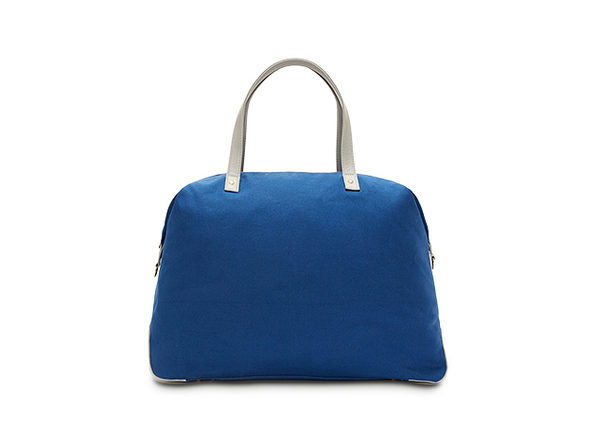 Canvas Color Block Overnight Bag (Indigo)