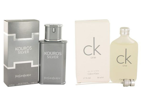 Gift set  Kouros Silver by Yves Saint Laurent EDT Spray 3.4 oz And  CK ONE EDT Pour/Spray (Unisex) 1.7 oz - Product Image