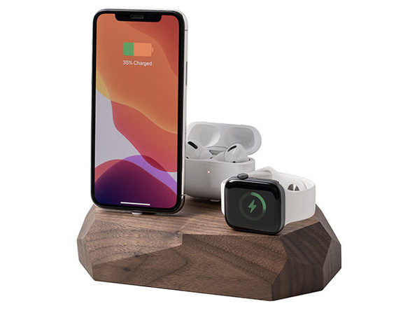 Triple Dock: 3-in-1 Apple Device Charging Station (Walnut Wood)