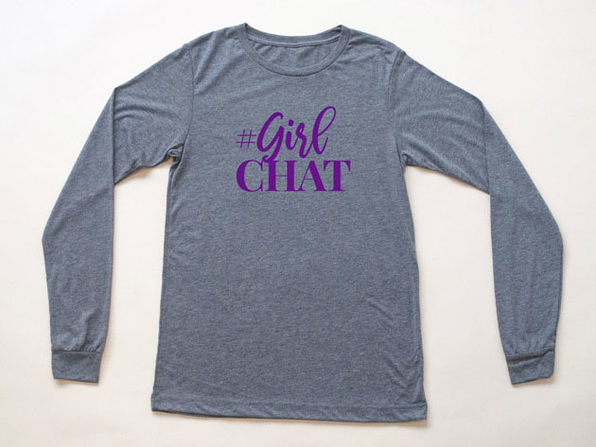 The Real GirlChat Heather Gray Long Sleeve Shirt (XL)