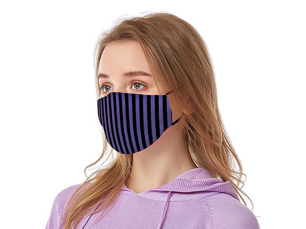 Reusable Face Masks with Adjustable Ear Loops: 8-Pack (Black & Purple)