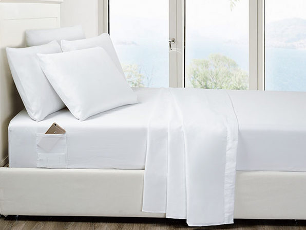 6-Piece White Ultra Soft Bed Sheet Set with Side Pockets King - Product Image