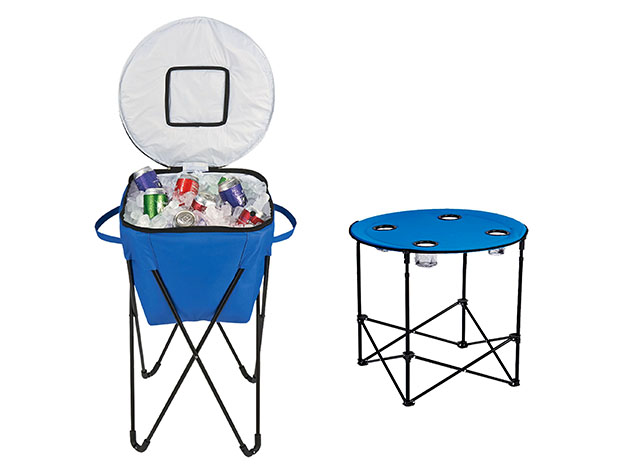 A portable collapsable cooler for camping, plus a collapsable table with cup holders for camping