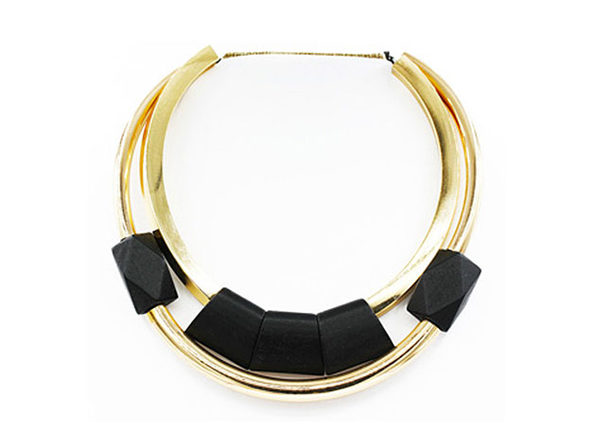 "Black Wood Beaded Statement Necklace By ""The Countess"" Luann de Lesseps"