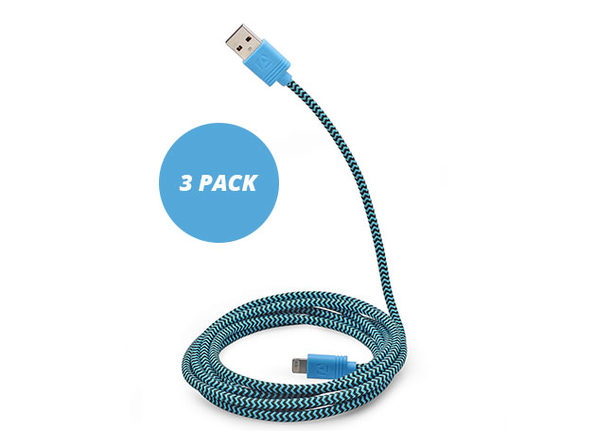 10-Ft Cloth MFi-Certified Lightning Cable 3 Pack (Blue)