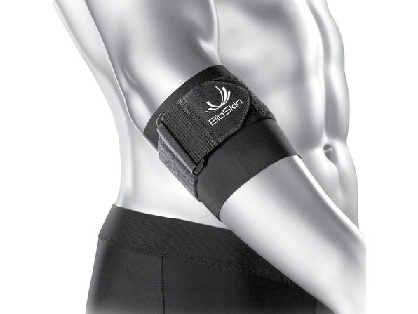 Bio Skin Braces Q-Brace Tennis Elbow Band With Pain Relief Silicone Pad, Small Size: 9-10 Inches, Black