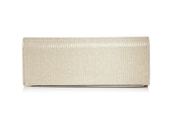 Jessica McClintock Mackenzie Sparkle & Shine Evening Clutch with 22.5 Inches Shoulder Drop, Champagne