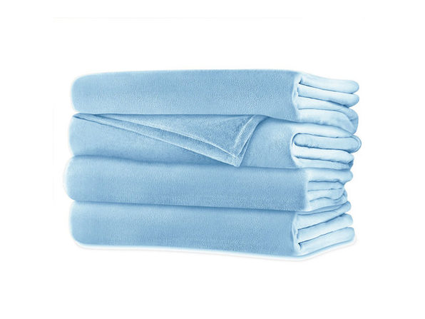 Sunbeam Velvet Plush Electric Heated Blanket King Size Blue Surf Washable Auto Shut Off 20 Heat Settings - Blue Surf