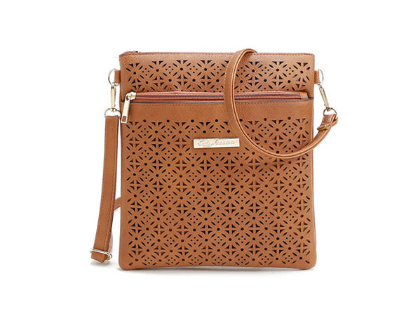 Blossom Handbag With Cut-Out Flower Design (Chocolate Brown)
