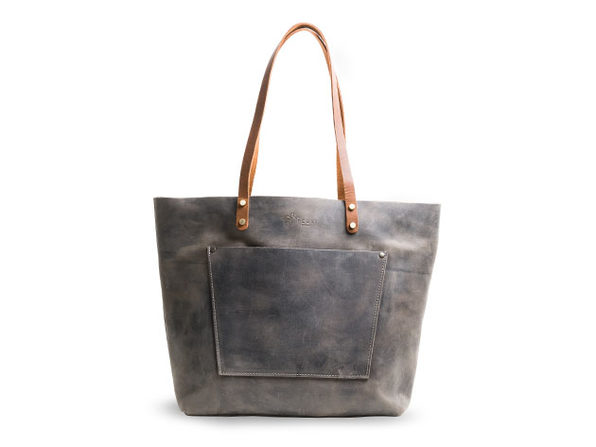 LaSalle Rustic Leather Tote (Grande with Outside Pocket)
