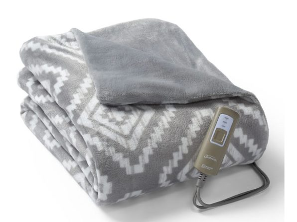 Sunbeam Velveteen Electric Heated Warming Throw Blanket Geo Violet Washable Auto Shut Off 3 Heat Settings
