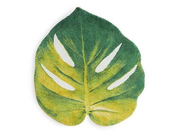 """Abyss Leaf Green Cotton Bath Rug 39"""" x 39"""""""