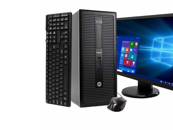 "HP EliteDesk 800 G1 Tower PC, 3.2GHz Intel i5 Quad Core Gen 4, 8GB RAM, 500GB SATA HD, Windows 10 Home 64 bit, 22"" Widescreen Screen (Renewed)"