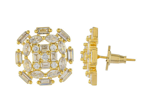 Cubic Zirconia Oval Baguette Stud Earrings (Gold/2 Pairs)