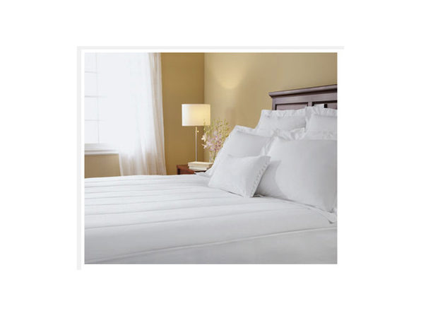 Sunbeam Quilted Heated Electric Mattress Pad Stripe Pattern Cal King Size White