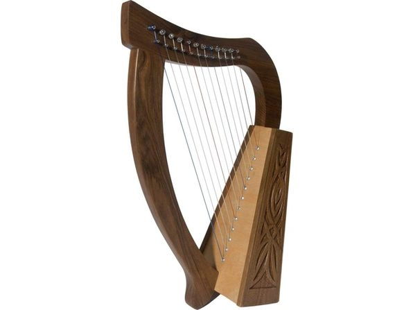 "Roosebeck Baby Celtic Harp Nylon 12-String w/Knotwork Design, 21"" - Walnut Wood (Used, Damaged Retail Box) - Product Image"