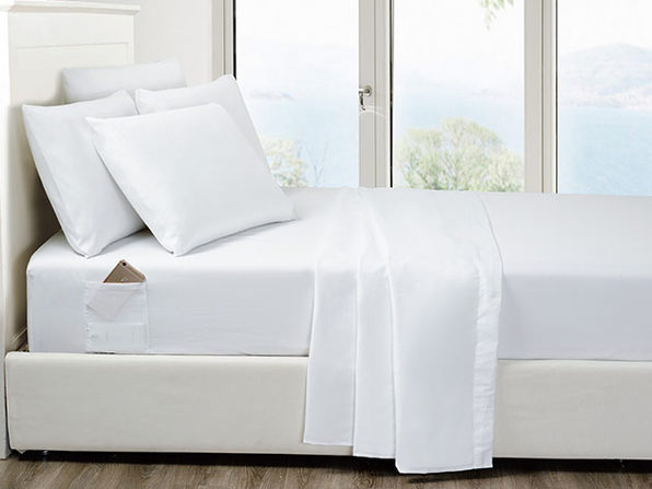 6-Piece White Ultra Soft Bed Sheet Set with Side Pockets Full - Product Image