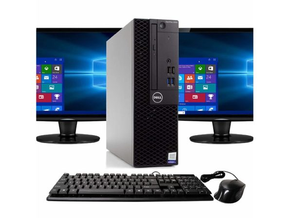 "Dell Optiplex 3050 Desktop PC, 3.2GHz Intel i5 Quad Core Gen 7, 16GB RAM, 500GB SATA HD, Windows 10 Professional 64 bit, Dual (2) 24"" Screens Screen (Renewed)"