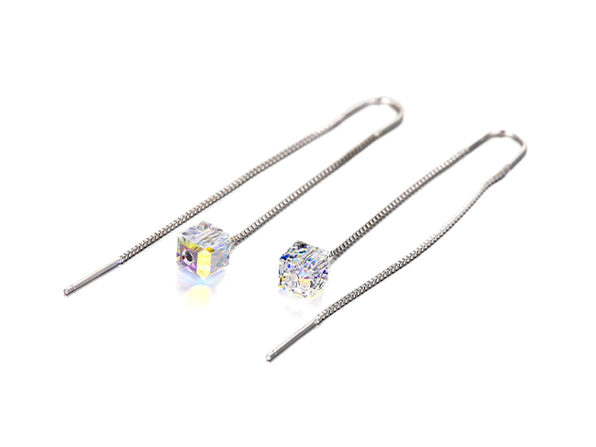 Aurora Borealis Swarovski Dangling Earrings in 18K White Gold