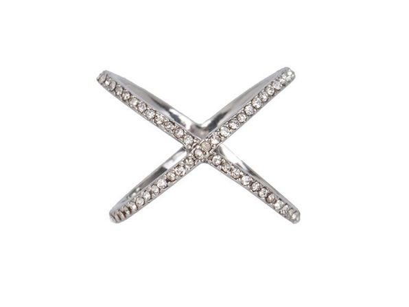 XO Pave Ring in Silver (Size 7)