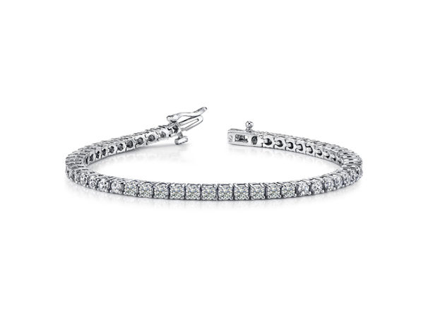 Sterling Silver Tennis Round Bracelet  - Round White - Product Image