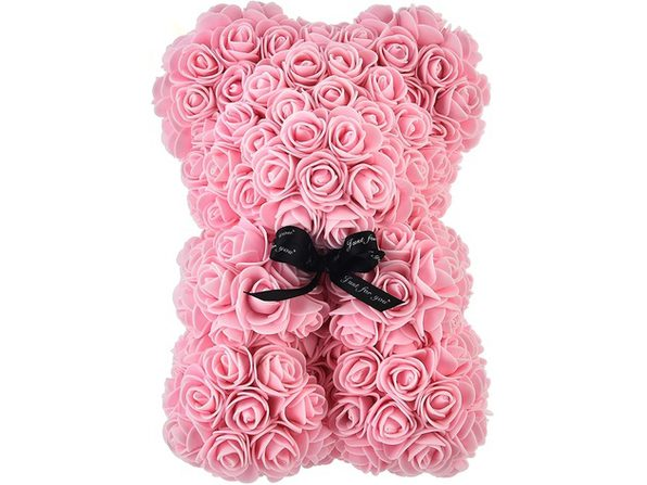 "Homvare Foam Rose Teddy Bear 10"" with Gift Box for Valentines Day, Anniversary and Birthday - Pink/Black"