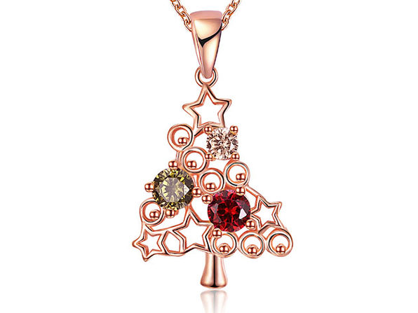 Large Rainbow Christmas Tree Necklace with Swarovski Crystals (Rose Gold)