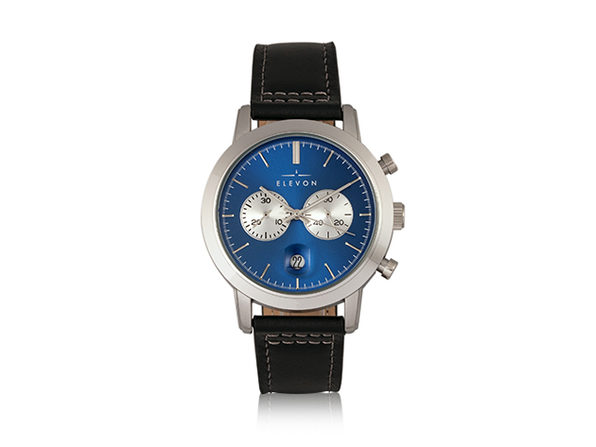 Elevon Langley Chronograph Leather Band Watch (Blue/Black)