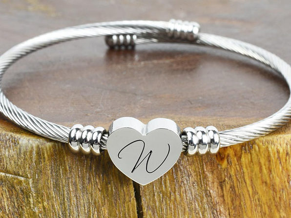 """Heart Cable """"W"""" Initial Bracelet"""