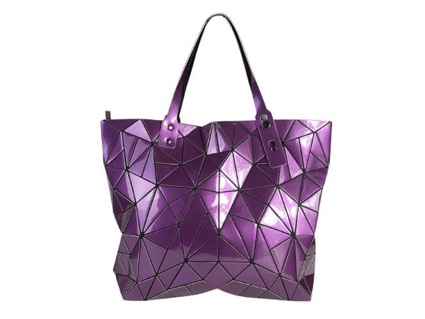 Geo Shaped Tote with Zipper - Purple - Product Image