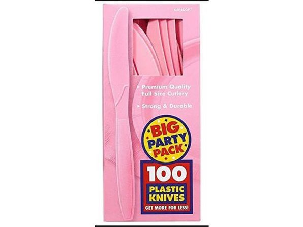 Party Favors - Big Party Pack - New Pink - Plastic Knives - 100ct - Product Image